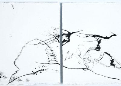 "Drawing by Miriam Morsel Nathan, ©2018 ink, 7 ½"" x 15 ½"""