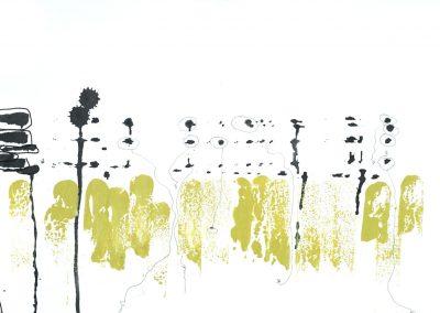 "Drawing by Miriam Morsel Nathan, ©2018 ink, watercolor, 7 3/4"" x 11 1/4"""
